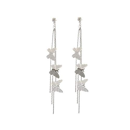 DSJTCH Pendientes de Borla Larga para Las Mujeres Oro/Plata Color Metal Elegante Piercing Hollow Pendientes de Colgantes Coreanos (Metal Color : E889yin)