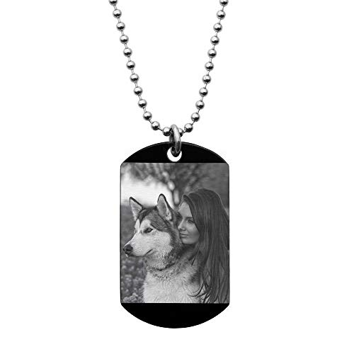 Photo Engraved Necklace Personalized Medallions Dog Tag Pendant Picture Hip Hop Jewelry - Sweet 16 Birthday Graduation Anniversary Wife Husband Father's Day Valentines Gift Souvenir