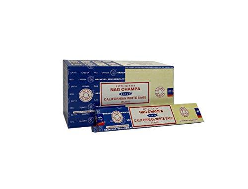 Satya 01308 Nag Champa & Californian White Sage Combo Set di Bastoncini di incenso, 12 Confezioni da 16 g, Multi, Taglia Unica