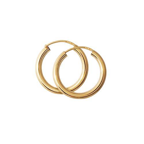 NKlaus Paar 750 Gold gelbgold Creolen Ohrringen Ohrschmuck 2,5mm rund Goldohrringe 20mm 9041