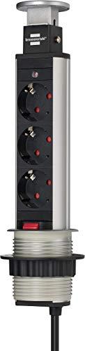 Brennenstuhl Tower Power regleta de enchufes de mesa de 3 tomas de corriente (cable de 2m, retráctil en la mesa, montable) aluminio