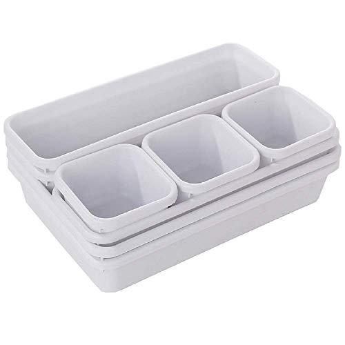 Kaptin - Juego de 8 separadores de cajones ajustables de plástico con combinación de objetos pequeños para almacenamiento y organización del hogar y la oficina