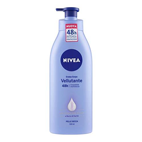 NIVEA Crema Corpo Vellutante (1 x 500ml), Irresistibile morbidezza per pelle secca, Formula arricchita con Burro di Karitè e NIVEA Siero Idratazione Intensa