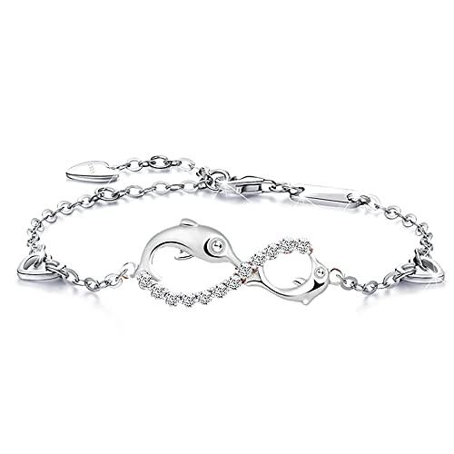 Beforya Paris - Pulsera con delfín de infinito, plata 925, bonita pulsera para mujer con circonita, con elegante caja de regalo