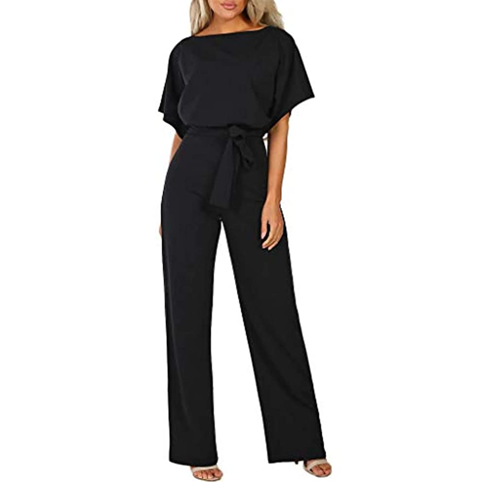 miqiqism Women's Elegant Short Sleeve Jumpsuits Casual Sexy Wide Leg Long Palazzo Pants Semi Formal Cocktail Party Rompers