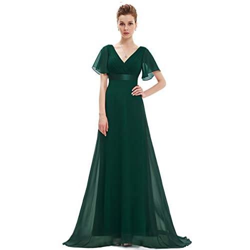Ever-Pretty Abito da Sera Donna Stile Impero Linea ad A Scollo a V Maniche Corte Lungo Verde Scuro 42