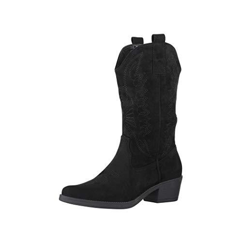 Elara Damen Cowboy Stiefel Biker Boots Chunkyrayan 301-A32S Black-40