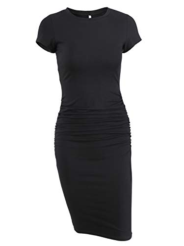 Missufe Women's Ruched Casual Sundress Knee Length Bodycon Pencil Dress (Black, X-Large)