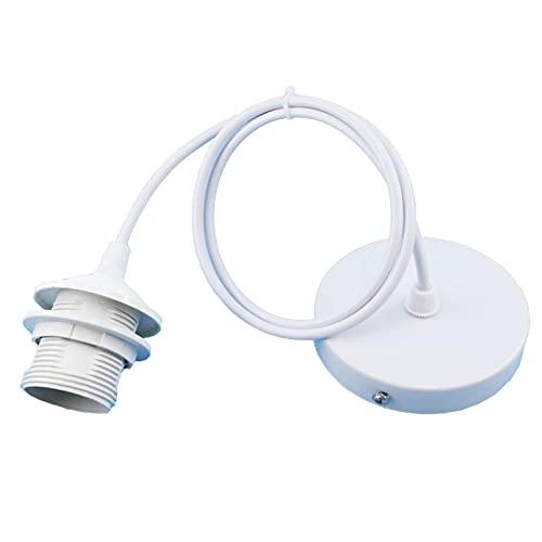 E27 Metall Lampenaufhängung, Lampenfassung Aufhängung, Lampenaufhängung Schwarz, E27 Lampenfassen mit 100CM Kabel, für Bar, Café, Bekleidungsgeschäft, Zuhause, Hotel (Weiß)