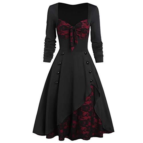 VEMOW Vestido Vintage Manga Larga para Mujer Cuello Redondo, Empalme Vestidos de Cóctel Vintage para Fiesta Boda Encaje Floral, Vestido de Dama de Honor Vestido de Noche Largo(Negro,5XL)