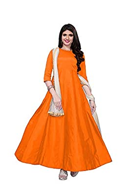 Fragrance Trendz Women's Tapeta Silk Anarkali Fancy Gown. (204_Free Size)