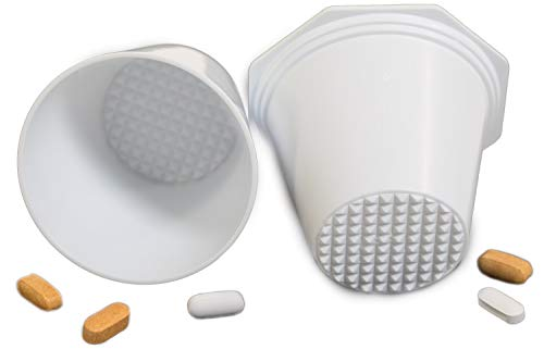 Pill Crusher, Grinder - for Larger Pills, Vitamins or Multiple Tablets - Great for Both Humans and Pets | Easy to use and Clean | Quickly Add Liquids for Drinking - by MegaPill White