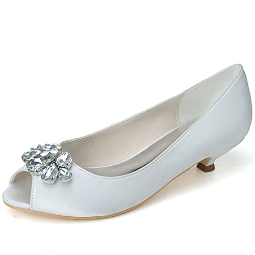 Zapatos de Boda de Novia Punta Abierta Verano de Mujer Diamante Satén...