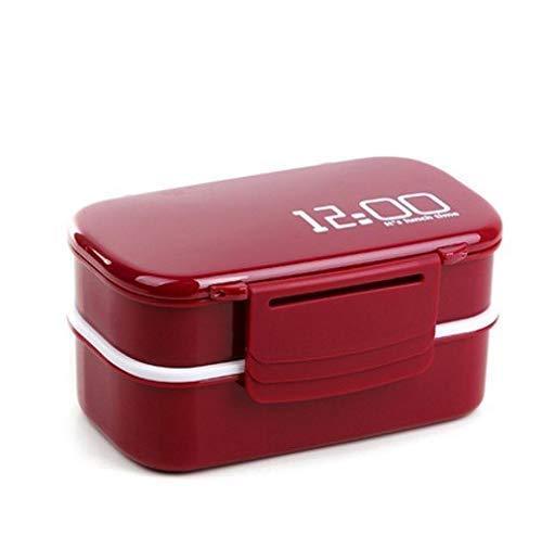 STYHOMSUN Gran Capacidad de Doble Capa de plástico 1400ml Rojo Caja de...