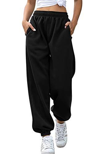 Pantalon de Survêtement pour Femme - Hip Hop - pour Le Jogging Sport Gym Danse - avec Elastique - Style Décontracté(Polaire doublée-Noir, S)