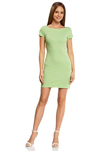 oodji Ultra Mujer Vestido de Punto Ajustado, Verde, ES 34 / XXS