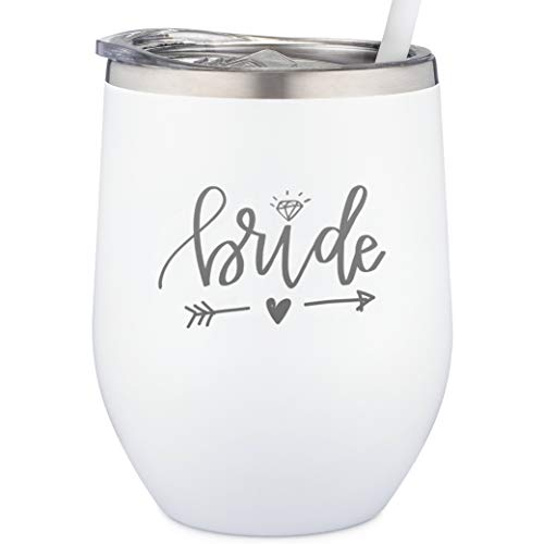 Bride Tumbler   Engraved Stainless Steel Wine Tumbler with Lid and Straw For Bride to Be   Soon to Be Bride   Newly Engaged   Engagement Glasses (12 Ounce, White)