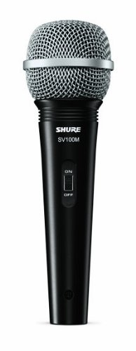 """Shure SV100-WA Multipurpose Cardioid Dynamic Vocal Microphone with On/Off Switch, 15\ XLR-to-1/4"""" Cable, Mic Clip and Zippered Bag"""