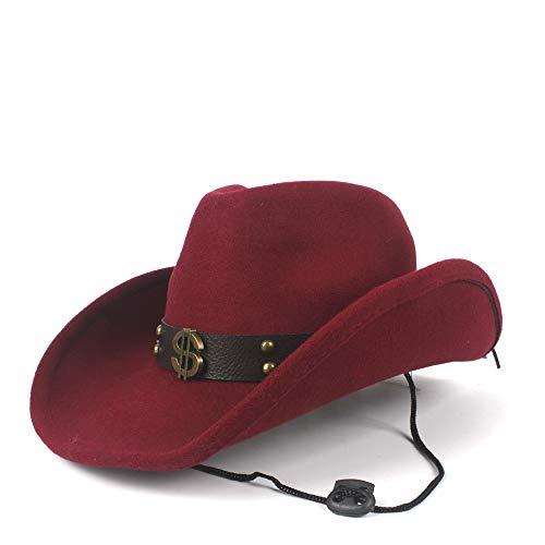 LiWen Zheng Sombrero de Vaquero Occidental de Lana for Hombres y Mujeres con cinturón Punk Sombrero Fedora Pop Sombrero de ala Ancha Tamaño 56-58 cm (Color : Wine Red, Size : 56-58)
