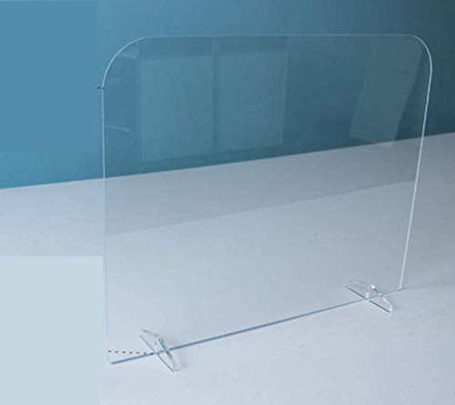 DPLQT Sneeze Guard Shield, Made of Safety Glass Scratch Resistant Free Standing Protection Screen for Desk, Protection Against Coughing Sneezing, for Shops, Office,6070cm