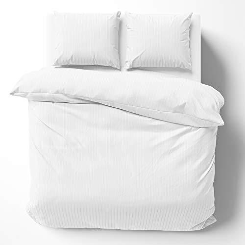 Alreya Ropa de cama de satén Mako de 240 x 220 cm, rayas blancas, 100% algodón, con cremallera YKK, funda nórdica supersuave, solo funda de edredón