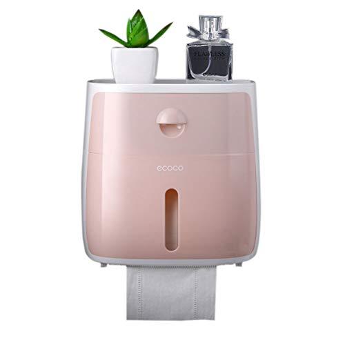 Hihey Toilettenpapierhalter ohne Bohren Selbstklebend Klopapierhalter Doppelschicht Lagerregal Mit wasserdichter und staubdichter Abdeckung für Küche Bad