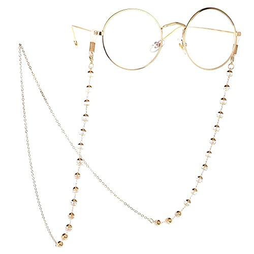 Cadena de gafas de señora Cristal transparente Cadena de gafas antideslizantes Cadena anti-perdida Cadena de metal Protección de gafas Cadena de gafas de oro y cuentas de cuerda (Color: Dorado, Tamaño