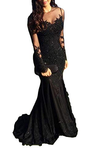 Sexy Illusions Long Sleeve Lace Prom Dresses Mermaid 2019 Beaded Appliques Formal Evening Ball Gowns Black