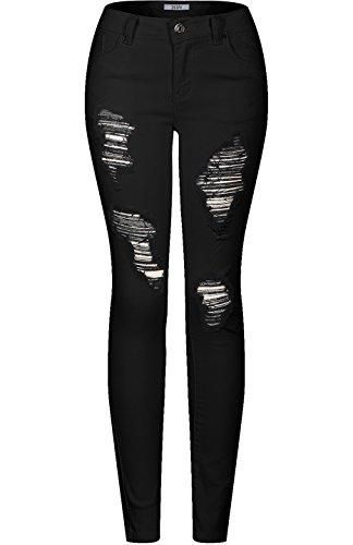 2LUV Women's Stretchy 5 Pocket Destroyed Ripped Black Skinny Jeans Black 11