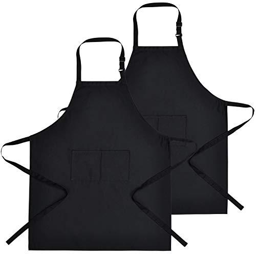 Toplived - Paquete de 2 delantales negros mejorados con babero ajustable con 2 bolsillos, delantales de cocina para barbacoa, hogar, restaurante, manualidades, jardín, dibujo, mujeres hombres chef