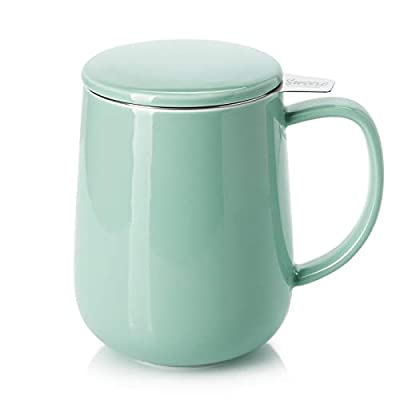 Sweese 204.109 Porcelain Tea Mug with Infuser and Lid, 20 OZ, Mint Green