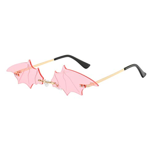 FITYLE Gafas de Sol con Forma de Murcilago Sin Montura para Mujer Y Hombre, Gafas con Forma de ala, Ropa de Calle Punk, Gafas de Moda de Diseador UV400 - Rosa