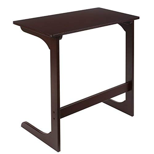 HOMFA Bamboo Snack Table Sofa Couch Coffee End Table Bed Side Table Laptop Desk Modern Furniture for Home Office, Dark Brown