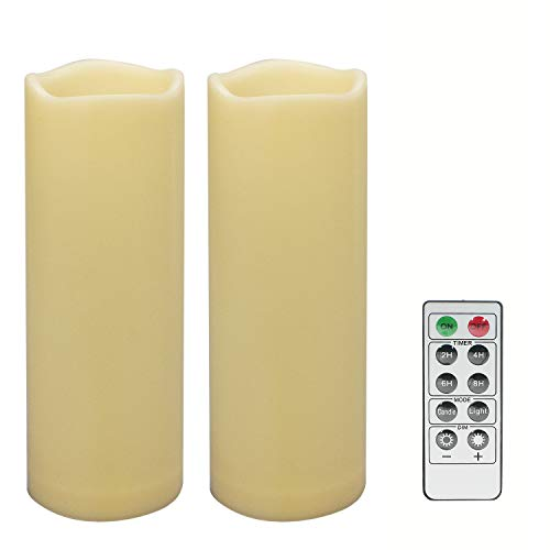 2 PCS 3' x8' Waterproof Outdoor Battery Operated Flameless LED Pillar Remote Candles Flickering Plastic Resin Electric Decorative Light for Lantern Patio Garden Home Decor Party Wedding Decoration