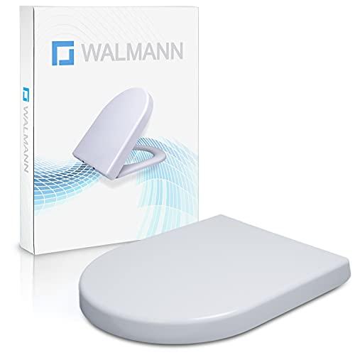 Walmann® Premium WC Sitz mit Absenkautomatik - Moderne Klobrille in D-Form weiss Klodeckel mit Softclose - Toilettendeckel abnehmbar aus Duroplast - WC Deckel mit rostfreier Edelstahl Befestigung