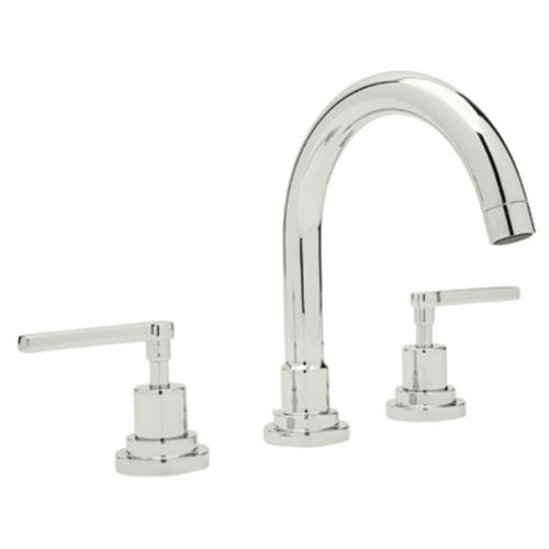 Rohl A2228LMPN-2 Lombardia C-Spout Widespread Bathroom Sink Faucet with Lever Handles, Polished Nickel