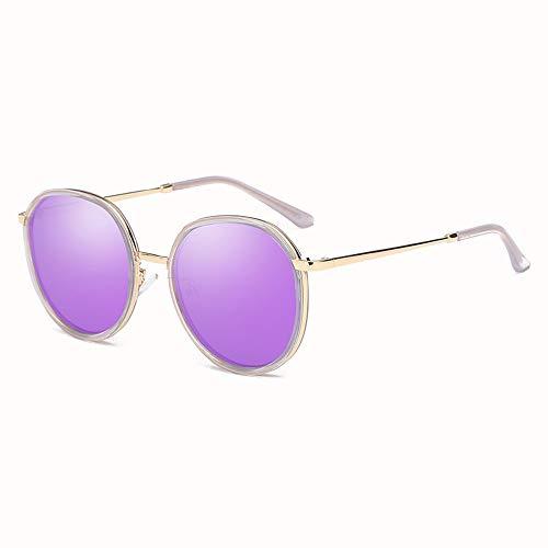 Bradoner New Trend - Gafas de sol polarizadas con marco redondo para mujer, protección UV400, marco transparente (color: morado)