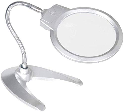 Lupa de escritorio de lupa para lectura de 2 x 6 x lupa de escritorio – Lupa plegable manos libres, 2 luces LED y lente de gran tamaño – Mejor lupa con luces para leer, placa de cocción
