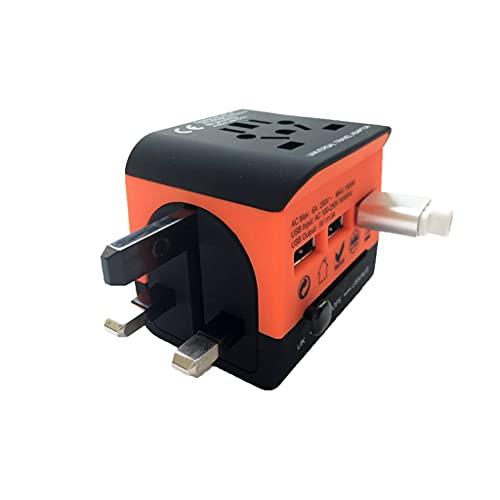 PIAOLING Adaptador de Viaje en Todo el Mundo, Adaptador de energía Universal CA Enchufe Cargador Internacional con 3 Puertos de Carga USB (Color : Orange)