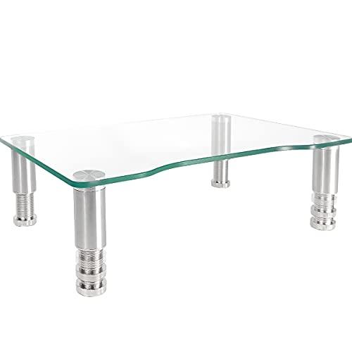 Computer-Monitor-Ständer mit höhenverstellbarem Ständer aus gehärtetem Glas, Aluminium-Beinen