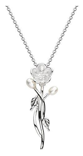 Dew Halskette aus Sterlingsilber mit Süßwasserperle und Blumen-Motiv, 45,7 cm Länge