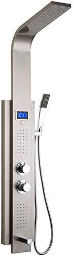 Digital Screen Silver Shower Panel Column Wall mounting Shower Set Shower Column Tower 2 Handles 2 Functions Massage Jet Silver