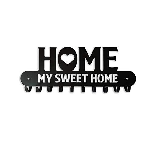 """Appendichiavi da parete in metallo con scritta intagliata """"Home My Sweet Home"""" Portachiavi e appendiabiti a parete nero satinato Arredo vintage per ingresso,cucina,etc.10 ganci (Nero satinato)"""