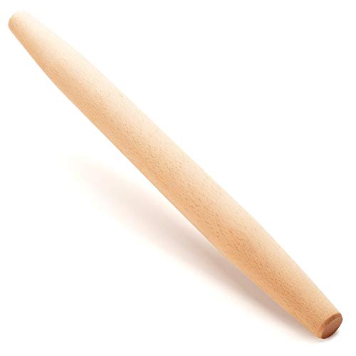"""French Wooden Rolling Pin 18"""" x 1.55"""" for Baking Pizza Pastry Dough, Pie Crust & Cookie - Kitchen Cuisine Utensil Smooth Tools Gift Ideas for Professional Bakers, Restaurants, Grandmas - MR. WOODWARE"""