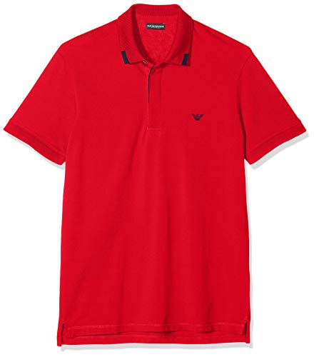 Emporio Armani Underwear Herren Mens Knit Polo S/SLE Badehose, Rot (Rosso 00074), Large (Herstellergröße:L)