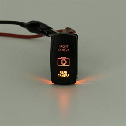 LICHONGUI Universal 12V 7 Pins Cámara Delantera Cámara Delantera Interruptor de cámara Trasero LED DPDT On-On-On Rocker Interruptores para el Barco RV (Color : Pink)