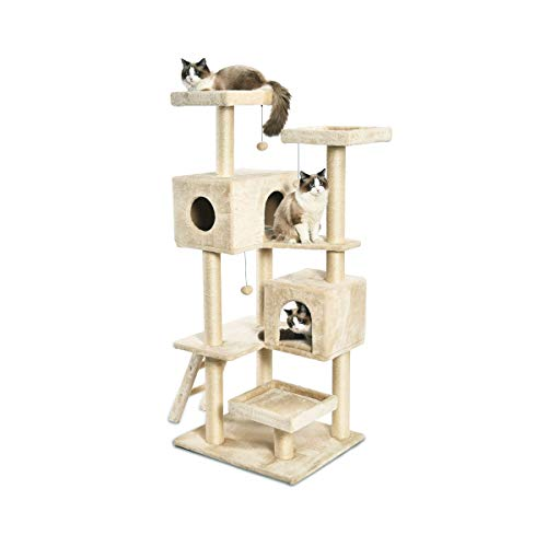 Amazon Com Feandrea 67 Multi Level Cat Tree For Large Cats With Cozy Perches Stable Cat Tower Cat Condo Pet Play House Upct18g Pet Supplies