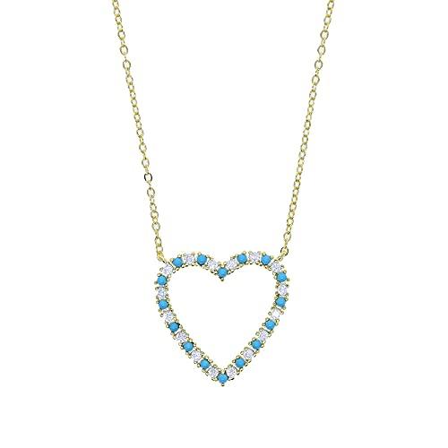 YHHZW Collar Romántico Estilo Coreano Encanto Azul Turquesa Zirconia Cúbica Pavé Corazón Colgante Collar para Mujer Amante Regalo Joyería-Oro