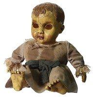 Halloween Horror Puppe Keramik Look Gänsehaut Schocker spricht und spielt schaurige Musik