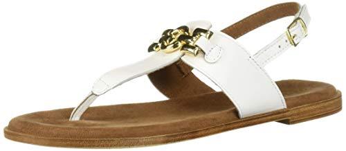 Bella Vita Women's Lin-Italy Thong Sandal Shoe, White Italian Leather, 7.5 W US